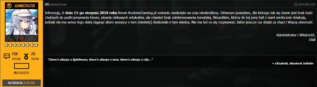 Zamknięcie Rockstargaming
